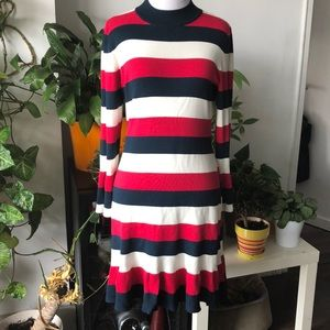 NEW. LOFT. GORGEOUS TRICOLORE KNITED DRESS